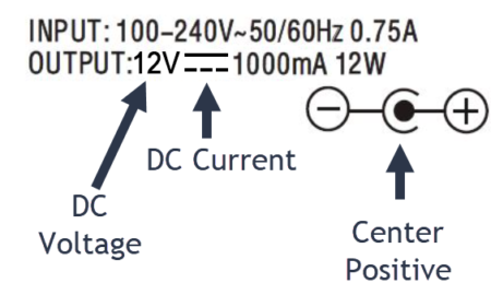A center positive 12v dc power supply label
