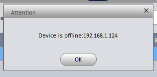 press ok to error message for device offline
