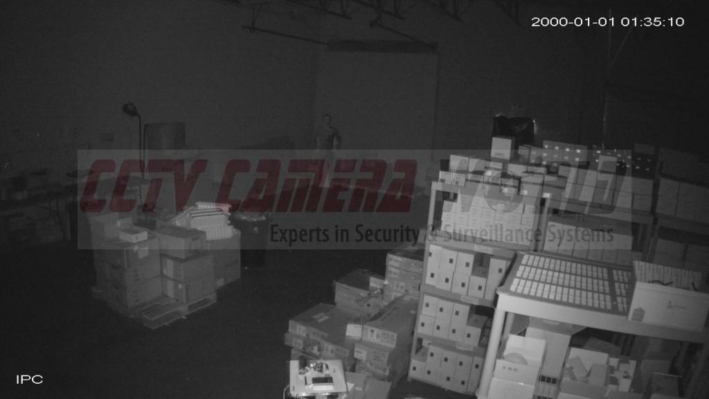 Indoor still snapshot of video captured by the Dahua 4K IP Camera Bullet IPC-HFW4800E in darkness.