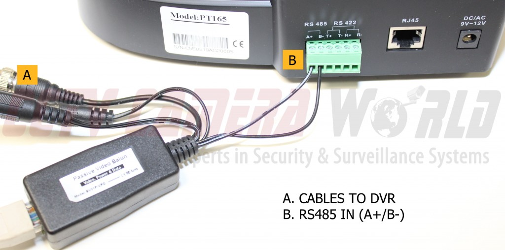 here we have connected the rs485 leads from the balun to the controller  as  you can see in [b], the striped lead is running to the positive port (a+)  and
