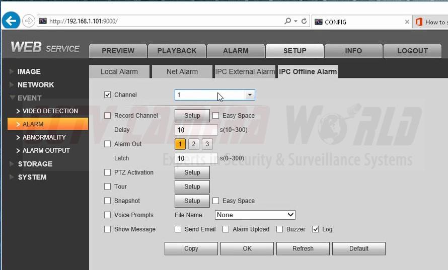 IPC Offline Alarm Settings Page