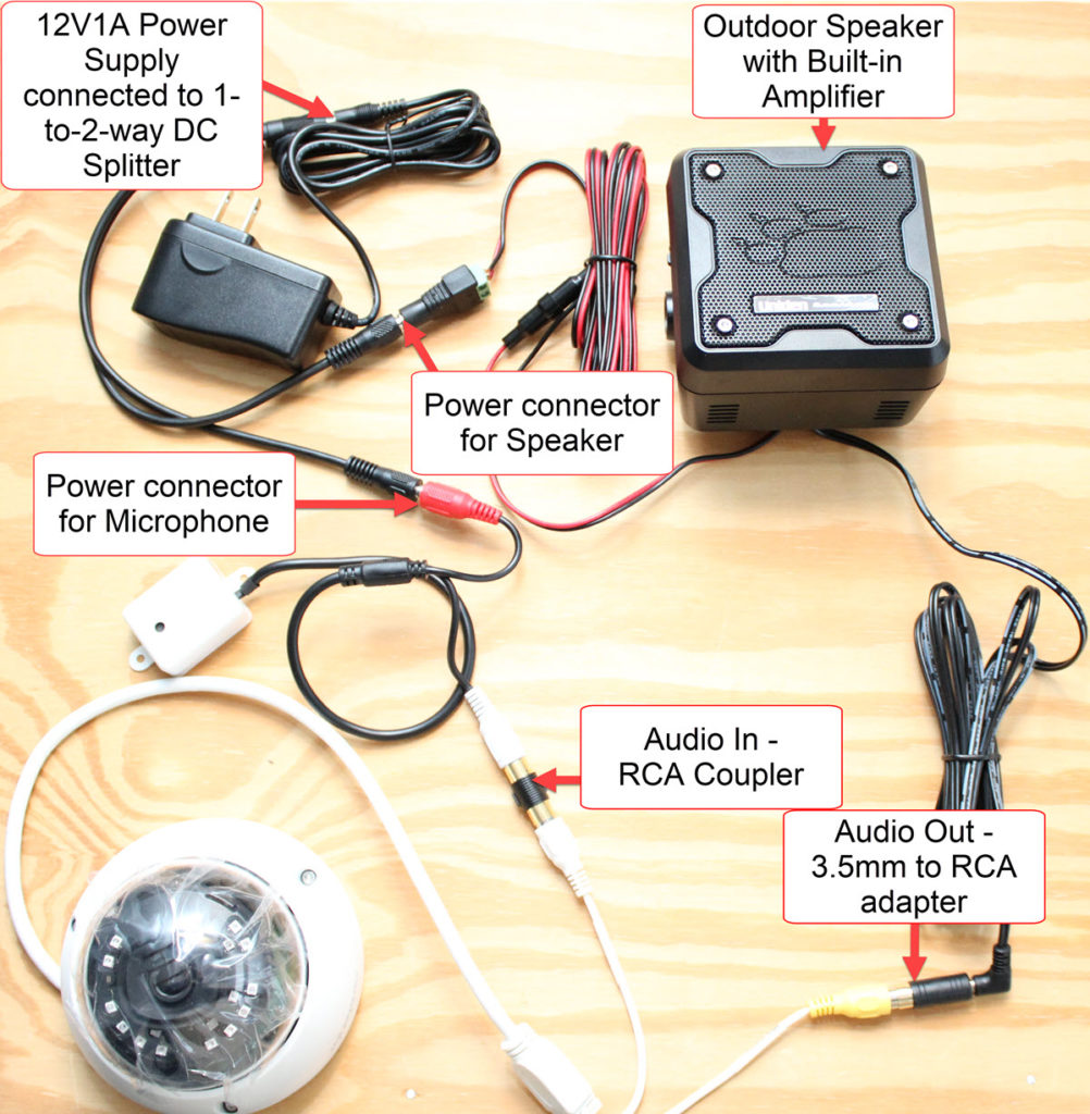 how to connect a microphone and speaker to a security camera with audio in/out connections