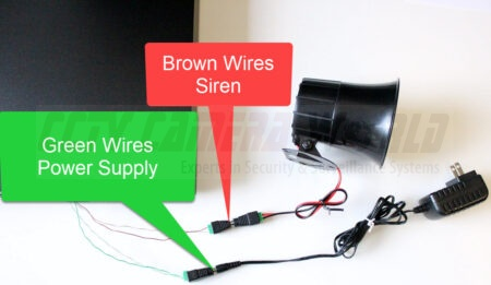 siren with power supply wired to nvr alarm block