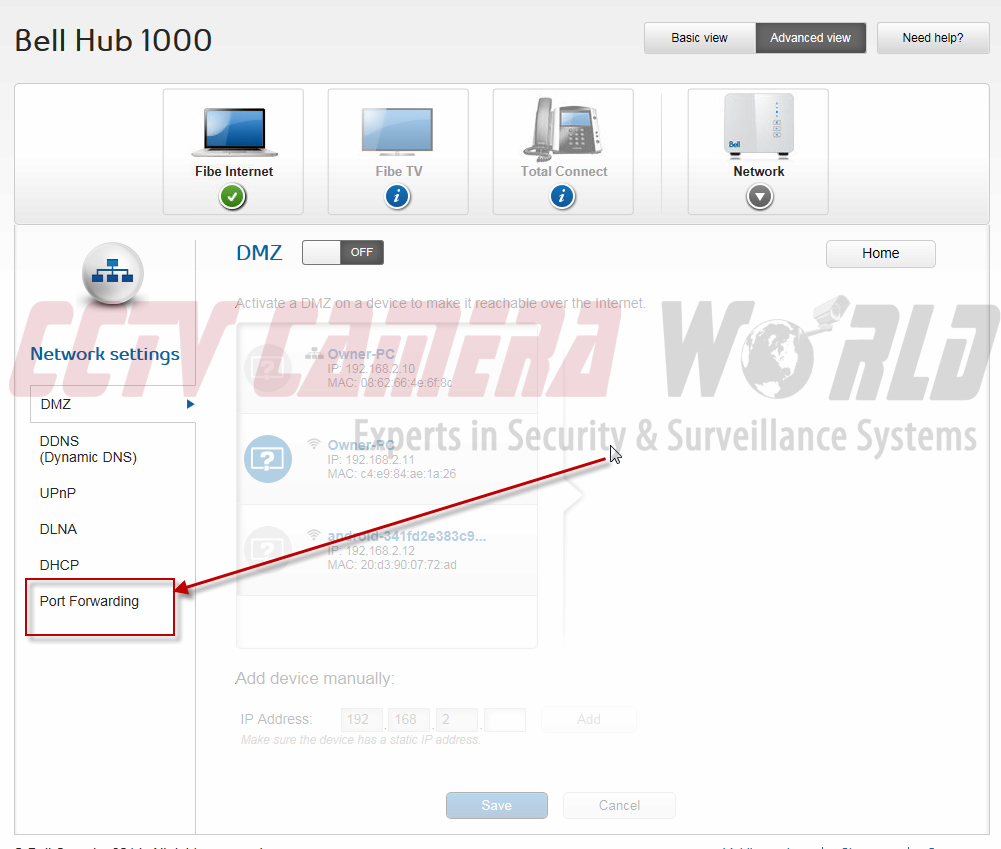 Port Forwarding Bell Hub 1000 for Security Systems / CCTV