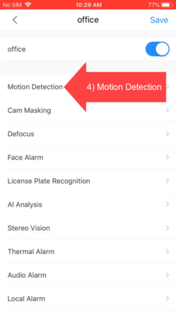 DMSS select Motion Detection