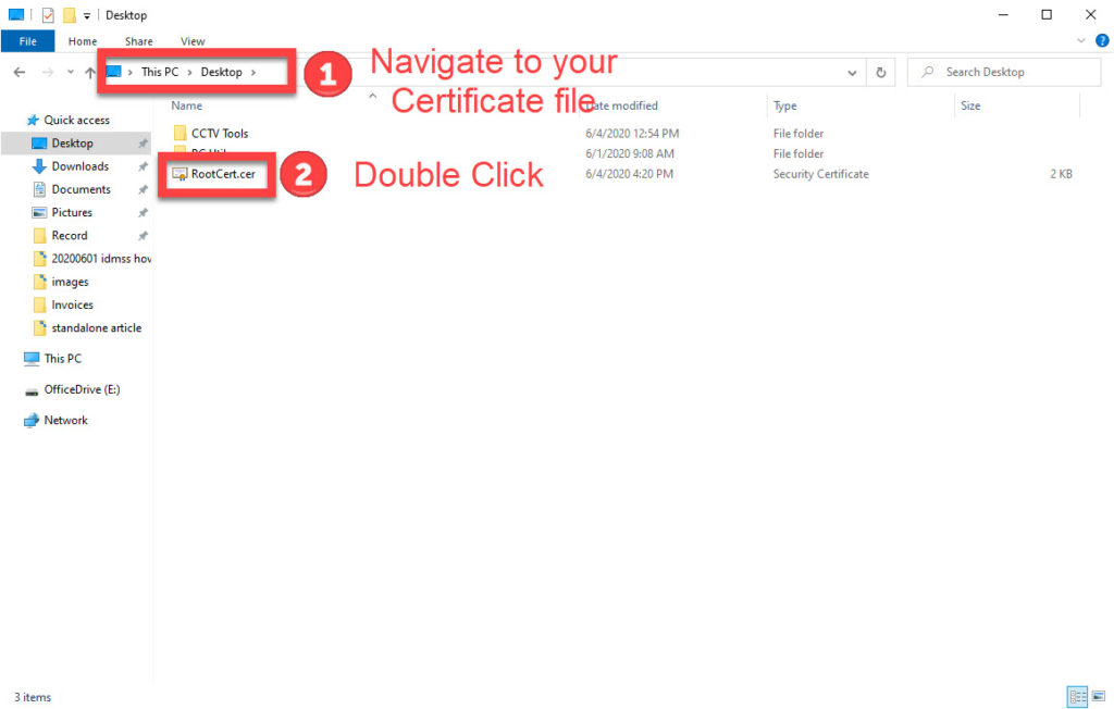 navigate to the certificate