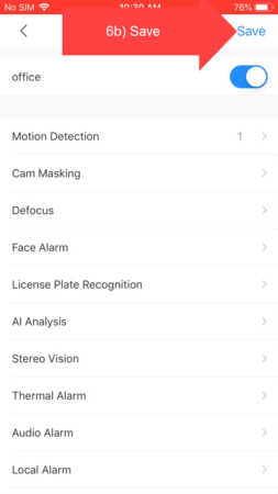 DMSS save notification settings