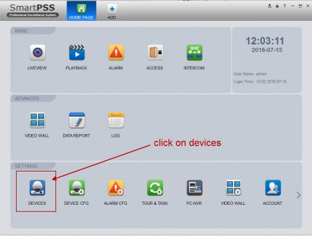 Click on device in SmartPss