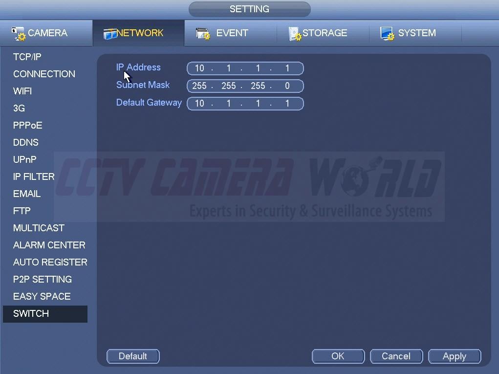 NVR Internal Switch Settings