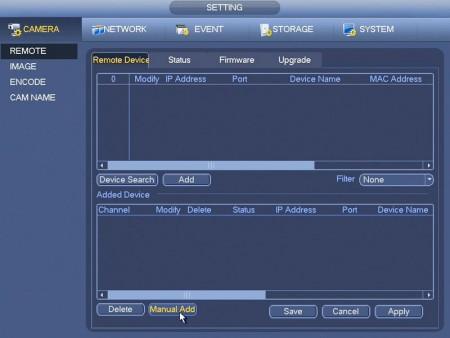 Click Manual Add to Attach ONVIF IP Camera