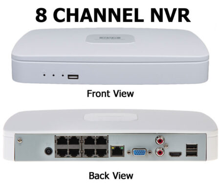 The front and back view of an 8 channel NVR