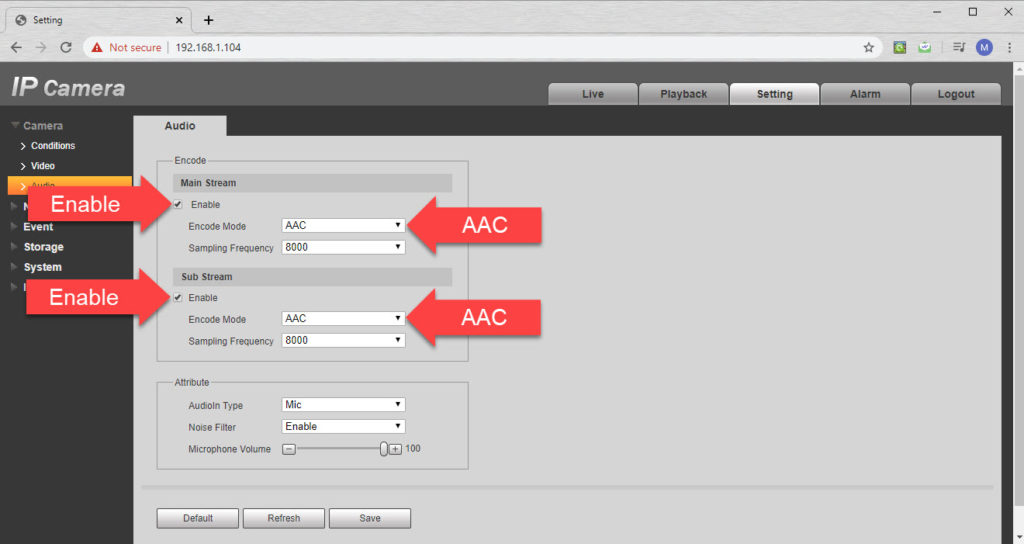 Set the audio codec to AAC