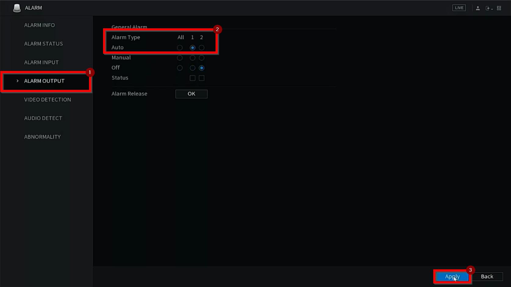 alarm output enable g2