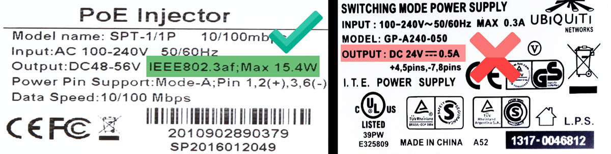 A good and bad PoE power supply label