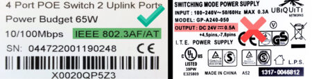 A good and bad PoE switch power label