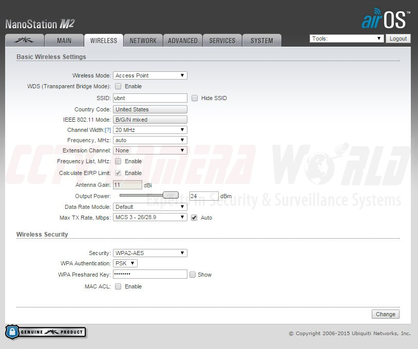 Ubiquiti Wireless Access Point Configuration Settings for radio set as Access Point.