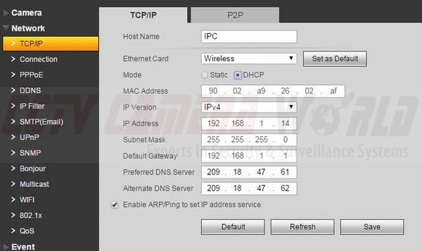 Default Wireless NIC Settings