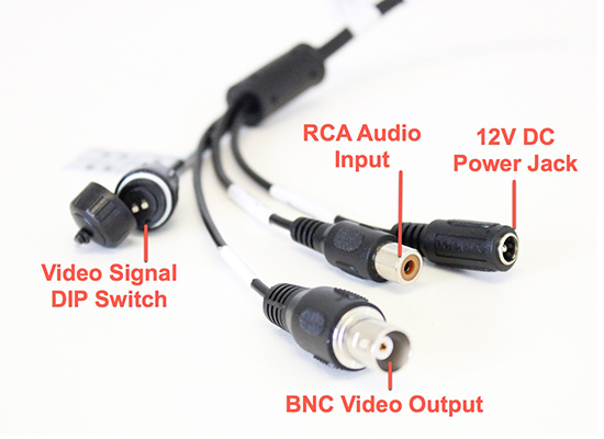 4K HDCVI camera pigtail with BNC, video dip switch, RCA audio input, and 12V DC input