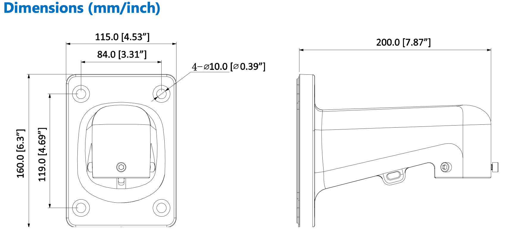 dimension of wall mount for ptz cameras