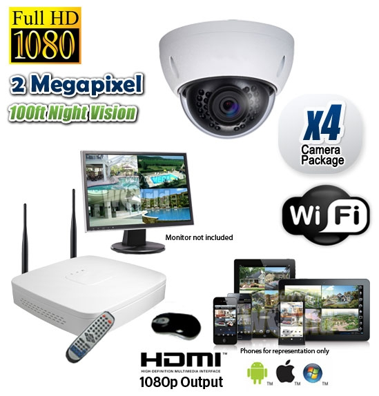 Wireless Dome Security Camera System 3mp 1080p