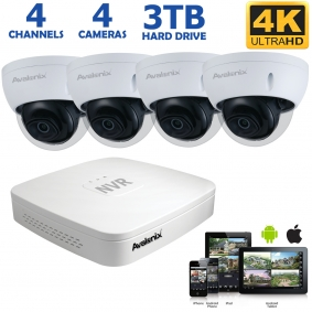 4 Camera 4K PoE System with 4 Dome Cameras, 100ft Night Vision