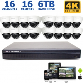 4K Ultra HD IP NVR System with 16 4K 8MP Dome Cameras, 100FT Night Vision