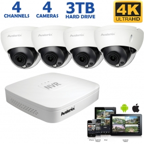 IP Camera System with 4 Outdoor 4K Dome Cameras, 100ft Night Vision