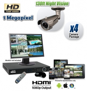 4 Camera HD CVI CCTV System with Night Vision