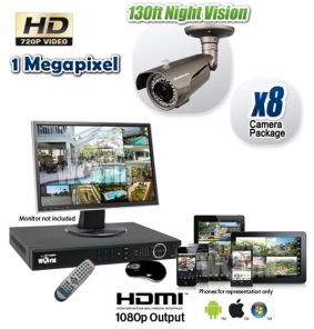 8 Camera HD CVI Security Camera System with Night Vision