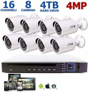 4 Megapixel 16 Channel IP System, 8 4MP Bullet Cameras
