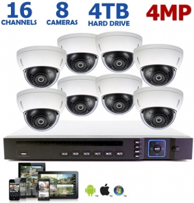 4 Megapixel 16 Channel IP System, 8 4MP Dome Cameras
