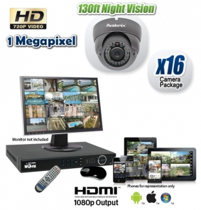 Megapixel 16 Camera HDCVI CCTV System, Night Vision