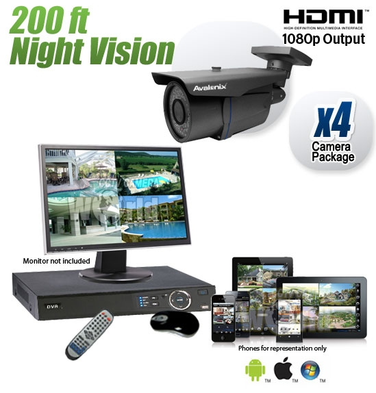 4 Camera Surveillance System With 200ft Infrared Night Vision