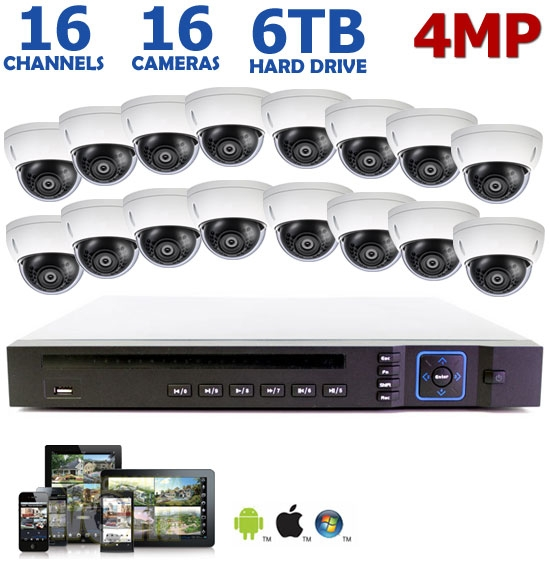 4mp 16 Channel Ip Camera System 16 4mp Dome Cameras