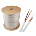 1000ft Solid Copper CCTV Siamese Cable RG59U with 18/2 Power, White