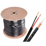 1000ft Solid Copper RG59 CCTV Siamese Video Power Cable Roll, Black