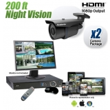 2 Security Camera System with 200ft Night Vision