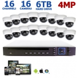 4MP 16-Channel IP Camera System, 16 4MP Dome Cameras