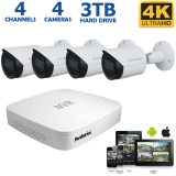 4-channel 4K NVR System with 4 Outdoor 8MP Cameras, 100ft Night Vision