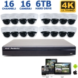 16 Camera 4K NVR System with 16 8MP Dome Cameras, 100FT Night Vision