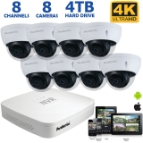 4K 8 Camera PoE System, 8 Outdoor 8MP Dome IP Cameras, 100ft Night Vision