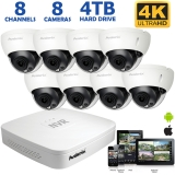 8-Channel 4K NVR System with 8 Outdoor 8MP Dome IP Cameras, 100ft Night Vision