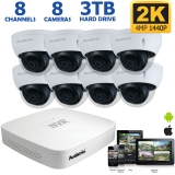 8-Channel 2K IP NVR with 4MP Wide Angle Dome Cameras 100ft Night Vision