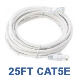 25ft CAT5e Cable White Bare Copper