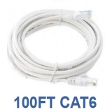 100ft CAT6 Cable White, Bare Copper