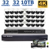 Ultimate 32 Dome Camera 4K NVR System, 100FT Night Vision