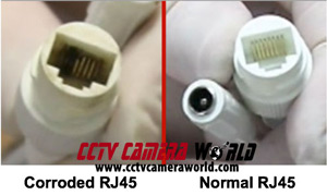 comparison of good RJ45 connector vs corroded connector
