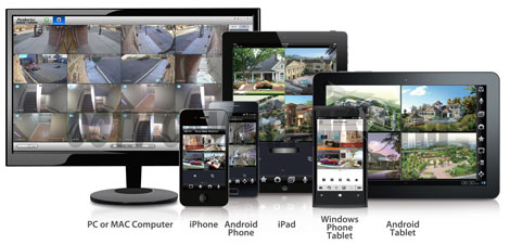 CCTV Camera World camera systems support remote viewing via iPhone, iPad, Android devices, PC or MAC Computers