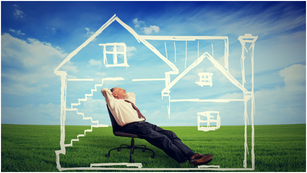 man relaxing in drawn house and open field